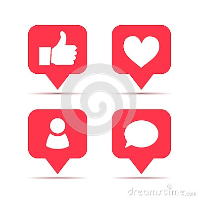Free Set Of Icons For Social Network. Likes, Friends And Comments Piktogram Stock Photos - 101933723