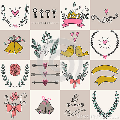 Free Set Of Icons For Valentines Day, Mothers Day, Wedding, Love And Romantic Events. Stock Image - 57238701