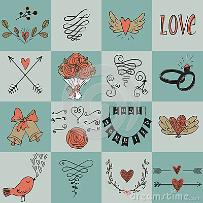 Free Set Of Icons For Valentines Day, Mothers Day, Wedding, Love And Romantic Events. Royalty Free Stock Photography - 57238707