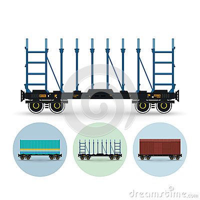 Free Set Of Icons Of Different Types Of Freight Cars Stock Images - 54106904