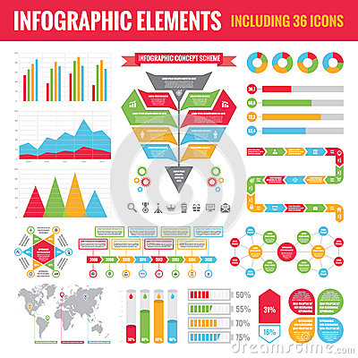 Free Set Of Infographic Elements (including 36 Icons) - Vector Concept Illustration Stock Photos - 44417083