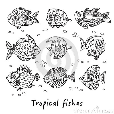 Free Set Of Ink Tropical Fishes. Vector Illustration Royalty Free Stock Photography - 87712947