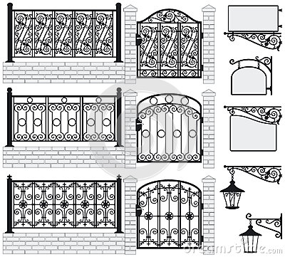 Free Set Of Iron Wrought Fences, Gates, Signboards, Lan Royalty Free Stock Photo - 34272765