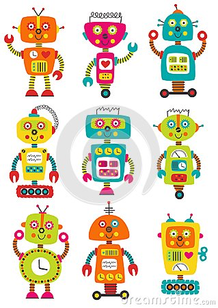 Free Set Of Isolated Colorful Robots Stock Photos - 123599103
