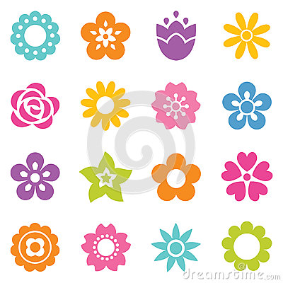 Free Set Of Isolated Flat Flower Icons In Bright Colors Royalty Free Stock Photography - 50012607