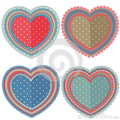 Free Set Of Isolated Vintage Hearts Royalty Free Stock Photo - 84431205