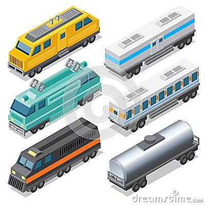 Free Set Of Isometric Locomotives And Waggons Royalty Free Stock Image - 71161336