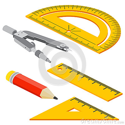 Free Set Of Isometric Measuring Tools: Rulers, Triangles, Protractor, Pencil And Pair Of Compasses . Vector School Instruments Isolated Royalty Free Stock Images - 70926579