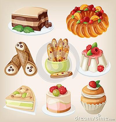 Free Set Of Italian Desserts Stock Photos - 41203703
