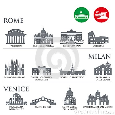 Free Set Of Italy Symbols, Landmarks In Gray Color. Vector Illustration. Venice, Milan,Italy, Rome Royalty Free Stock Photo - 122095995