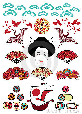 Free Set Of Japan Ornaments Stock Image - 21134971