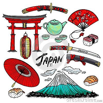 Free Set Of Japanese Symbols Royalty Free Stock Photography - 74348087