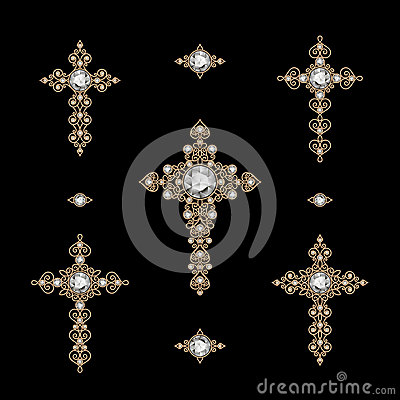 Free Set Of Jewelry Crosses Royalty Free Stock Images - 38157399