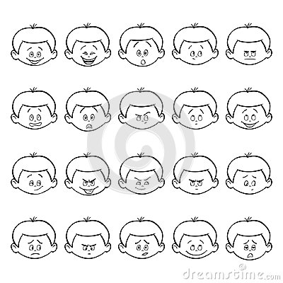 Free Set Of Kid Facial Emotions. Outline Boy Face With Different Expressions. Stock Image - 94518821