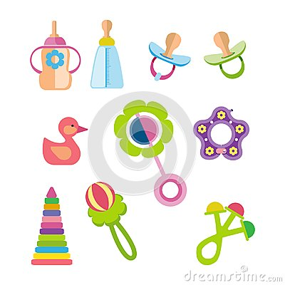 Free Set Of Kids, Children Toys And Accessories Concept. Stock Photos - 99765453