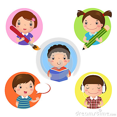 Free Set Of Kids Mascot Learning. Icon For Writing, Drawing, Reading, Royalty Free Stock Photo - 59678085