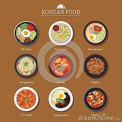 Free Set Of Korean Food Flat Design. Asia Street Food Illustration Ba Stock Photography - 77335902