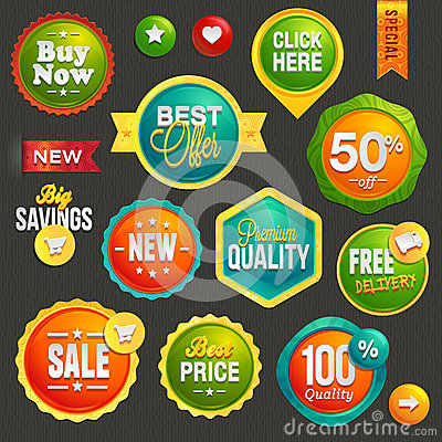 Free Set Of Labels And Icons Royalty Free Stock Photo - 29446645