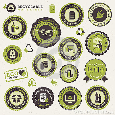 Free Set Of Labels And Stickers For Recycling Royalty Free Stock Photography - 26492177