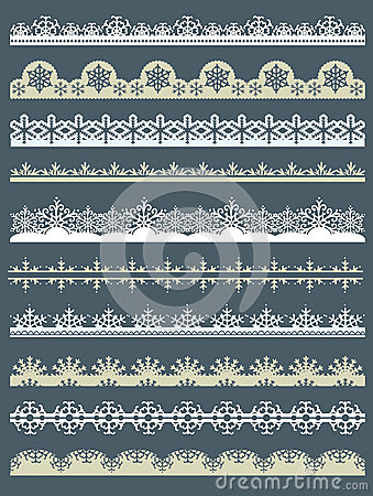 Free Set Of Lace Paper For Christmas, Vector Royalty Free Stock Image - 27257736