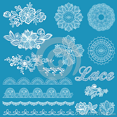 Free Set Of Lace, Ribbons, Flowers Royalty Free Stock Photography - 37123297