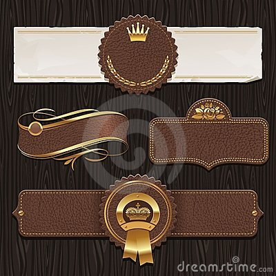 Free Set Of Leather Vintage Framed Labels Stock Photo - 24185640