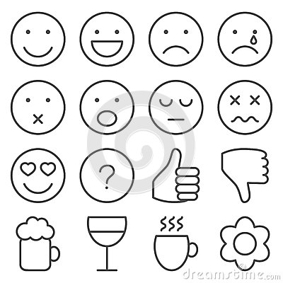 Free Set Of Line Emoticons Stock Photo - 39535350