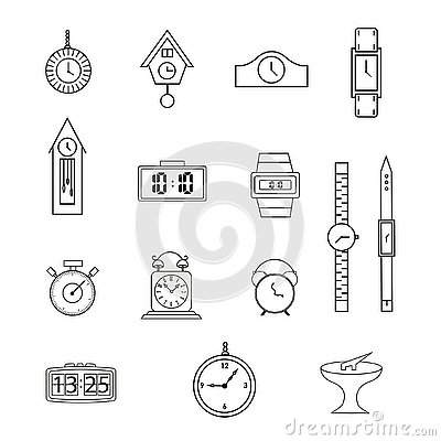 Free Set Of Line Icons, Flat Icons Collection, Clock, Watch, On White Background Royalty Free Stock Photos - 135859318