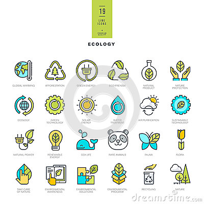 Free Set Of Line Modern Color Icons For Ecology Royalty Free Stock Image - 55440396