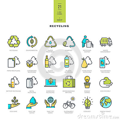 Free Set Of Line Modern Color Icons For Recycling Stock Image - 55440431