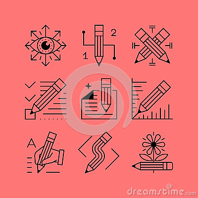 Free Set Of Line Vectors Icons In The Flat Style. Royalty Free Stock Photos - 66651898