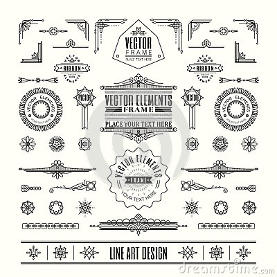 Free Set Of Linear Thin Line Art Deco Retro Vintage Design Elements Stock Photography - 53534772