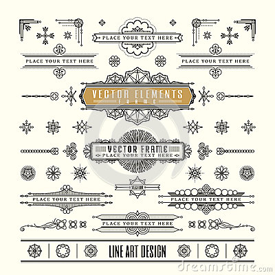 Free Set Of Linear Thin Line Art Deco Retro Vintage Design Frame Stock Images - 56048134