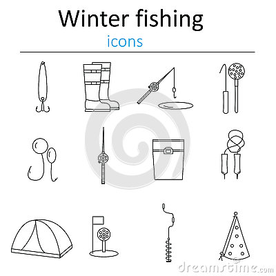 Free Set Of Linear Web Icons Winter Fishing. Accessories For Fishing On The Ice. Stock Photo - 75243530