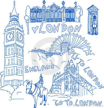 Free Set Of London Doodles Stock Photography - 9856062