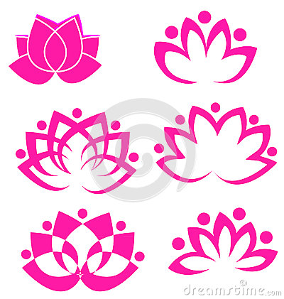 Free Set Of Lotus Flowers Stock Image - 24853881