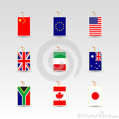 Free Set Of Made In Labels Of China, Eu, Uk, Usa, Italy, Australia, South Africa, Canada And Japan Stock Photography - 57138492