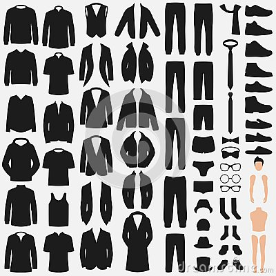 Free Set Of Man Fashion. Vector Clothes Silhouette. Pants, Suit, Shirt And Jacket Stock Photos - 109631223