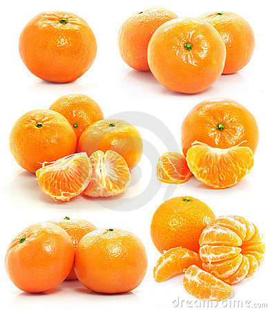 Free Set Of Mandarin Fruits Isolated Food On White Royalty Free Stock Photography - 4912217