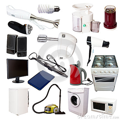 Free Set Of Many Household Appliances Stock Photo - 28115810