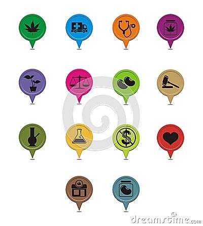 Free Set Of Medicinal Marijuana Pointer Royalty Free Stock Image - 32681086