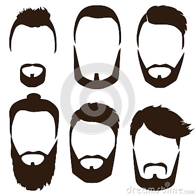 Free Set Of Mens Hairstyles, Beards And Mustaches. Gentlmen Haircuts And Shaves Royalty Free Stock Images - 92289339