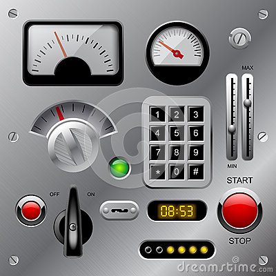 Free Set Of Meters, Buttons And Other Machinery Parts On Metallic Das Stock Photos - 66177343