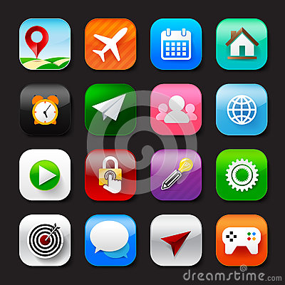 Free Set Of Mobile App And Social Media Icons Vector Eps10 Set 002 Stock Image - 85990491