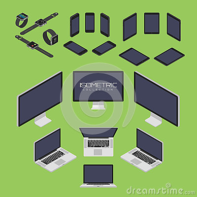 Free Set Of Mobile Phone, Smart Watch, Tablet, Laptop, Computer From Four Sides Icon Set Vector Graphic Illustration Stock Photos - 71656973