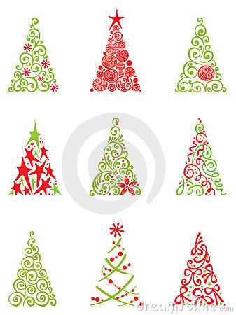 Free Set Of Modern Christmas Trees Stock Images - 21558434