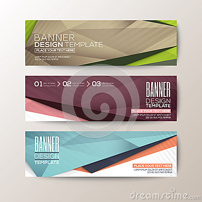 Free Set Of Modern Design Banners Template With Abstract Triangle Polygon Elements Stock Photo - 51314120