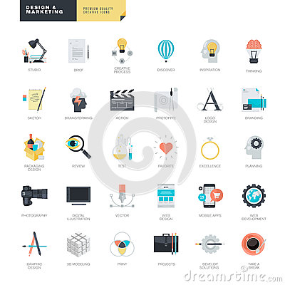 Free Set Of Modern Flat Design Icons For Graphic And Web Designers Stock Image - 52028791