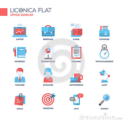 Free Set Of Modern Office Line Flat Design Icons And Pictograms. Stock Photography - 67405732