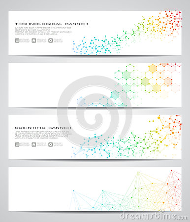 Free Set Of Modern Scientific Banners. Molecule Structure DNA And Neurons. Abstract Background. Medicine, Science, Technology Stock Photos - 88294343
